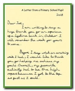 Feedback letter from a child