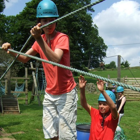 Low ropes course at Marrick Priory - outdoor adventure activities in the Yorkshire Dales